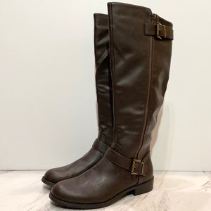 New! Mia Brown Buckle Tall Boots 9M